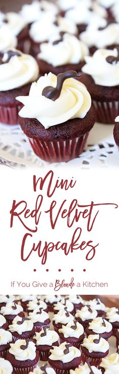 This red velvet cupcakes recipe makes 36 mini cupcakes (or 12 regular-sized cupcakes). They are soft and rich treats with decadent cream cheese frosting. | @haleydwilliams