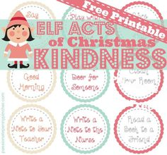 Free Printable - Christmas Acts of Kindness for your elf - such simple things your kids can do without any planning or prep work but great reminders about caring for others this Christmas!