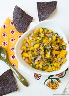 Mango Salsa: 2 mangoes diced, ½ large red onion diced, 1 jalapeño seeded and diced, juice of ½ lime, ½ tsp salt, ¼ cup cilantro chopped finely -- Mix all ingredients in a bowl. Stir to combine and serve.