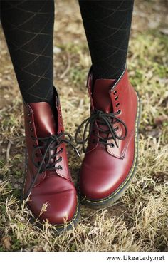 Cherry Doc Marten s but with the classic laces