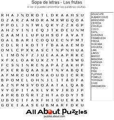 Sopas de Letras: Sopa de letras - Las frutas
