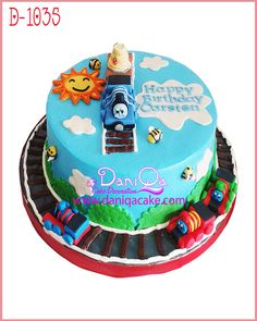Thomas and Friends Birthday cake          #www.daniqacake.com#tokokueulangtahun#Birthdaycake#cakeshopjakarta#bentobox#parcellebaran#kueke...