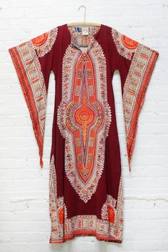 70s Dashiki Maxi Dress • Vintage 60s / 70s cotton angle sleeve maxi dress in burgundy, orange and violet. The absolute perfect music festival dress for a boho hippie.