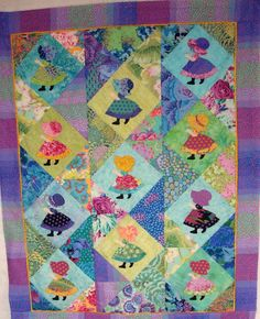 Sue meets Kafe. A Sunbonnet Sue quilt made by the Fun Old Hag aka Carol, July 2013