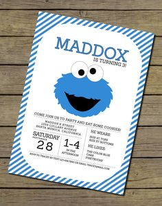 This listing is for a Cookie Monster Invitation, it is printable on your home printer, at your favorite local printer or an online printer.