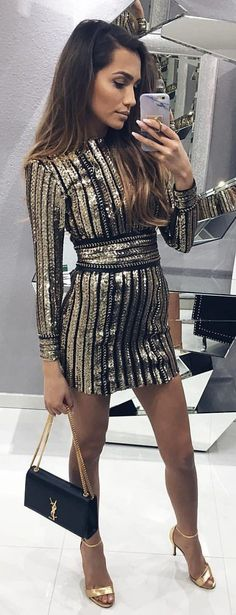 #summer #outfits Sparkle Striped Dress + Gold Sandals