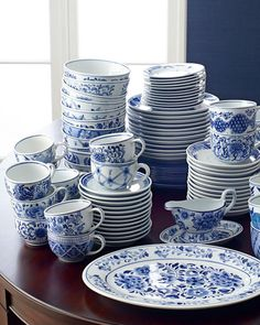 Shop Traditional Blue & White Dinnerware from Neiman Marcus at Horchow, where you'll find new lower shipping on hundreds of home furnishings and gifts. White Dinner Plates, White Dishes, Blue Dishes, Traditional Dinner Plates, Blue And White Dinnerware, Blue Dinnerware Sets, Vintage Dinnerware, Blue And White China, Blue China