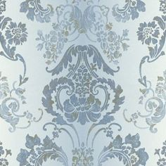 Kashgar (P619/07) - Designers Guild Wallpapers - An all over large damask design, shown here in a zinc blue grey background, with blue and gold detailing, which will have a stripe effect when hung.  Please request a sample for a true colour match. Paste the wall product.