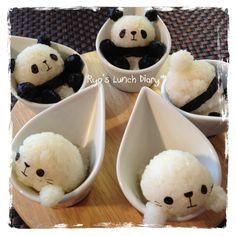 Panda and Seal in cup onigiri