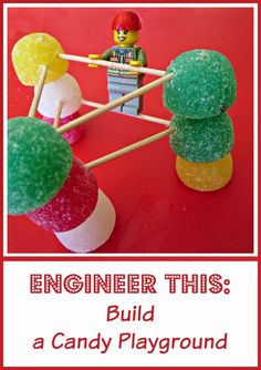 STEM engineering challenge for kids - design a playground for Lego mini figures