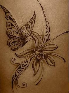 Polynesian butterfly and flower. not my kind of style but this is lovely. 1 Tattoo, Body Art Tattoos, Tribal Tattoos, Cool Tattoos, Tatoos, Polynesian Tattoos, Geniale Tattoos, Hawaiian Tattoo, Picture Tattoos