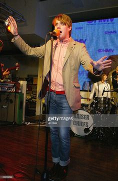 Ricky Wilson of the band Kaiser Chiefs performs at the instore launch of their debut album...