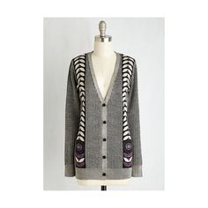 Anna Sui Vintage Inspired Long Sleeve Installation Admission Cardigan (€295) ❤ liked on Polyvore featuring tops, cardigans, apparel, grey, sweaters, grey long sleeve top, long sleeve cardigan, grey cardigan, anna sui top and anna sui