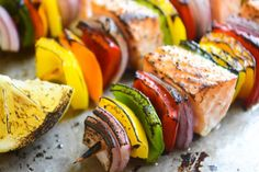 Looking for Fast & Easy Main Dish Recipes, Seafood Recipes! Recipechart has over free recipes for you to browse. Find more recipes like Rainbow Salmon Skewers. Healthy Grilling Recipes, Easy Healthy Dinners, Easy Dinner Recipes, Cooking Recipes, Healthy Food, Grilling Ideas, Salmon Recipes, Fish Recipes, Seafood Recipes
