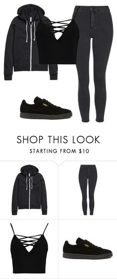 """Bez naslova #2137"" by selia-101 ❤ liked on Polyvore featuring H&M, Topshop, Boohoo and Puma"