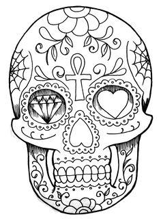 Calaveras Coloring Page | Free Printable | Halloween Sugar Skull Dia de los Muertos Day of the Dead Pattern