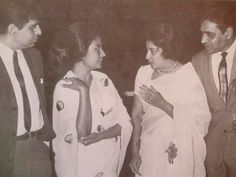 "bollymusings: "" ""Dilip Kumar and Rajendra Kumar listening to Nargis and Meena Kumari talking "" """