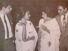"bollymusings: "" ""Dilip Kumar and Rajendra Kumar listening to Nargis and Meena Kumari talking "" """