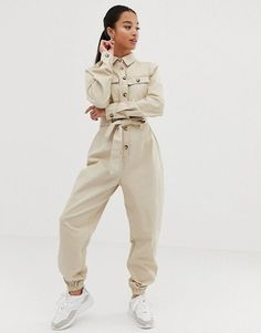 Shop the latest Missguided Petite utility long sleeve belted jumpsuit in beige trends with ASOS! Petite Fashion Tips, Petite Outfits, Curvy Fashion, Style Fashion, Fashion Capsule, Fashion Outfits, Womens Fashion, Fall Fashion Trends, Autumn Fashion