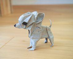 Origami Chihuahua Designed and folded by Hiroaki Kobayashi.