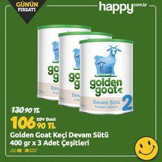 Günün Fırsatı! Golden Goat Keçi Devam Sütü 400 gr x 3 Adet çeşitleri sadece 106.90 TL! Sipariş için: https://www.happy.com.tr/golden-goat