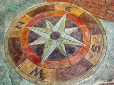 Compass concrete stamp 4' by Bobby's Concrete stamp available at www.calicoproducts.com Concrete Stamping, Stamped Concrete, Compass Rose, Porch, Stamps, Outdoor Decor, House, Ideas, Art