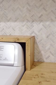 Homemade Wood Laundry Room Counter (& Shelf For Over The Washer/Dryer)
