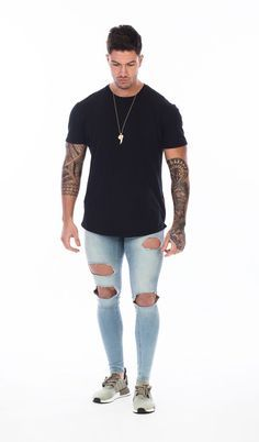 SET IN STONE LIGHT BLUE DESTROYED SPRAY ON SKINNY JEANS Our Super Skinny jeans come in a light blue destroyed wash, tapered right down to the ankle for that per