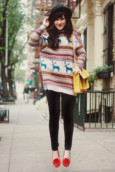 love this giant sweater with the skinnies and red loafers.
