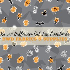 PREORDER BWD Exclusive - Kawaii Halloween Cat Toss Coordinate on Grey Cotton Spandex Jersey Knit Fabric