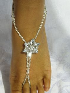 Barefoot Sandals Wedding Jewelry Rhinestone by SubtleExpressions, $29.00