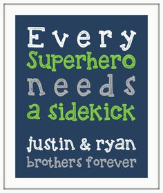 Every SUPERHERO needs a sidekick BROTHER Boy wall art print. Twin nursery decor Boy nursery, little boy print. playroom art by ThePrintsCess on Etsy