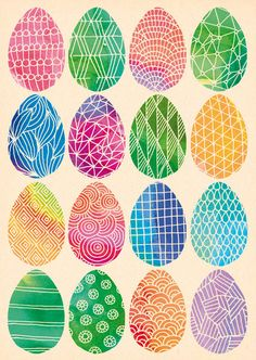 Handgezeichnete Postkarte mit Ostereiern // Handdrawn Easter egg postcard by LarifariLaden via DaWanda.com
