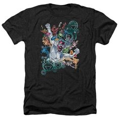 Green Lantern/Lanterns Unite Adult Heather T-Shirt in