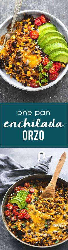 One Pot / One Pan Enchilada Orzo | lecremedelacrumb.com