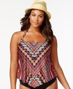 Becca ETC Plus Size Tribal Halter Tankini Top