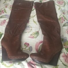 Brand new brown leather wedge gold studded boots Brand new brown studded wedged over the knee boot never worn Colin Stuart Shoes Over the Knee Boots