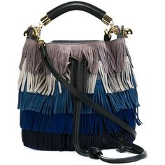 Chloé Gala Fringed Shoulder Bag (1,555 CAD) ❤ liked on Polyvore featuring bags, handbags, shoulder bags, grey, gray suede purse, suede handbags, gray handbags, grey handbags and grey purse