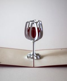 Full open red white paper red 3D wine glass