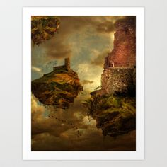 Post-apocalyptic floating islands. Image of the ruins was from a shot of the Roman wall in Exeter, England (that's me, the artist, sitting on the wall, watching the end of time).