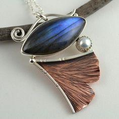 Labradorite Pendant Copper Leaf Necklace by DeborahCloseDesigns