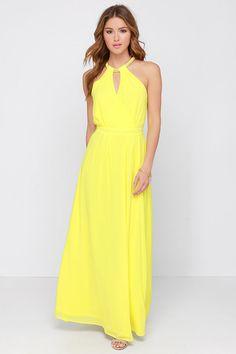 Vestido largo Halter sin mangas-amarillo 13.43