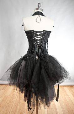 Custom Size black and gray Burlesque zombie corset by Glamtastik