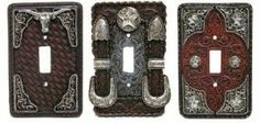 Wall Light Switch Plates - Set of 3 by Texas Leather. $11.95. HOME DECOR - LIGHT SWITCH PLATE, 3 PCS SET WESTERN STYLE