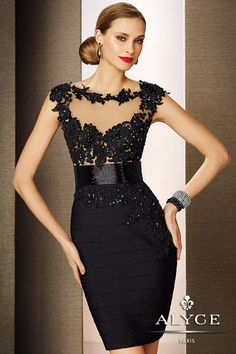 Cap sleeve band jersey short cocktail prom dress features a sheer top and back features embroidered detail.