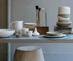 Shopper's Diary: Canvas Home Store Online : Remodelista love a stack of beautiful dishes. Home Store Online, Store Interiors, Canvas Home, London Art, Interior Inspiration, Plates, Kitchen Stuff, Cool Stuff, Tableware