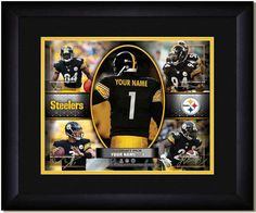 Your Name on a Steelers jersey as the #1 Draft Pick, with other football star players of your favorite NFL team, Framed Poster