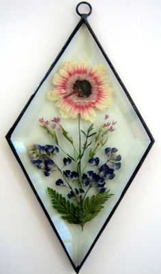 Stained Glass pressed flower bevel by PassionFlowerGlass on Etsy, $20.00