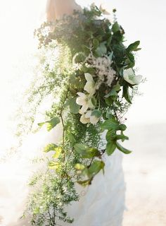 Cascading bouquet of greenery