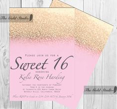 Customizable Pink & Gold Glitter Ombre Sweet sixteen 16 printable digital file, printing also available, JPEG PDF glamorous modern birthday by TheGoldStudio on Etsy
